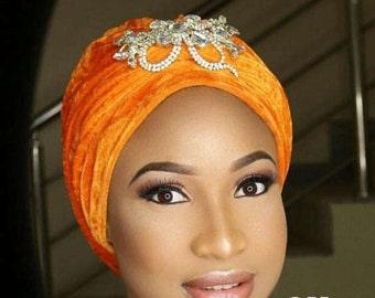 Luxurious Orange, Coral, Velvet Turban head wrap,  Extra LongVelvet Turban Head Wraps, Hijab Head Scarf, One Size fit all.