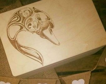 Memory keepsake large wooden box  swan .Gorgeous wishes and Dreams Swan , personalized, gift