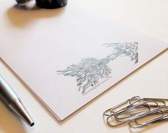 Unique Stationery Set, Letter Writing Set, Zentangle Arrow Stationery, Note Paper, Boho Letter Set, Personal Stationary, Arrow Design Paper