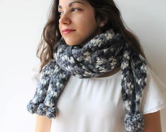 Grey scarf made of mohair wool Crocheted Women wear