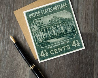 The White House, US postage stamps, USA Stamp Art, postage stamp art, US greeting cards, unique birthday cards, antique art cards, stamp art