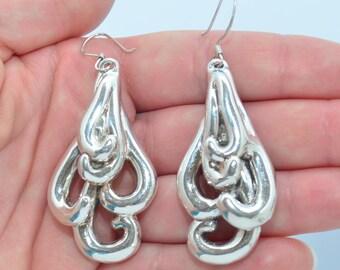Vintage Huge Designer Israel Sterling Silver Modernist Tentacles Drop & Dangle Pierced Earrings