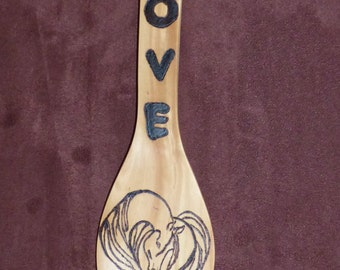 Wooden Spoon featuring horse with flowing mane and tail, Love,Horses,Horse Lover Gift,love horses,pyrography,wood burning,OOAK