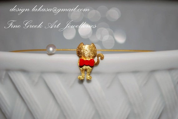 Necklace Red Enamel Bow cute Cat Pearl Sterling Silver Gold plated Handmade Jewelry Fine Greek Art Gift Catlovers Woman Girl Best Ideas Love
