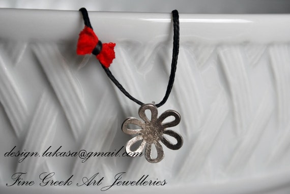 Flower Necklace Sterling Silver white Gold plated Handmade Jewelry for her Birthday Anniversary Love Woman sweet girl Floral Moda Romantic