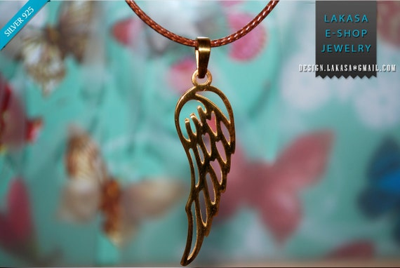 Wing Angel Sterling Silver Gold plated Pendant Jewelry Love Mother Children Name Day Woman Unisex Men Moda Hope Freedom Power BEST PRICE