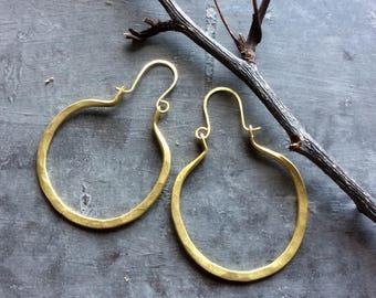 Organic forged brass hoops,brass hoops,hammered brass hoop earrings,brass hoop earrings,minimalist gold tone hoops,gold tone earrings