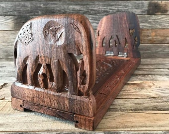 Vintage Carved Wood Folding Book Rack, Folding Wood Book Stand, Table Top Book Rack