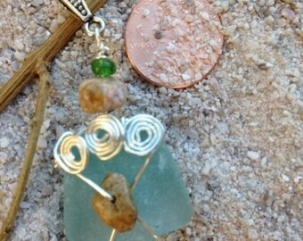 Wire Wrapped Light Turquoise Beach Glass Pendant