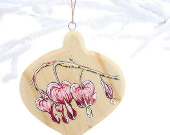 Bleeding Heart hand painted ornament- Bleeding hearts- Christmas ornament- Painted on wood- Unique gift