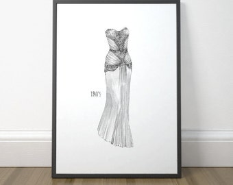 Fashion Drawing Art, Vintage Fashion Illustration, Dressing Room Decor, Fashion Illustration Poster, Instant Download, Digital Print
