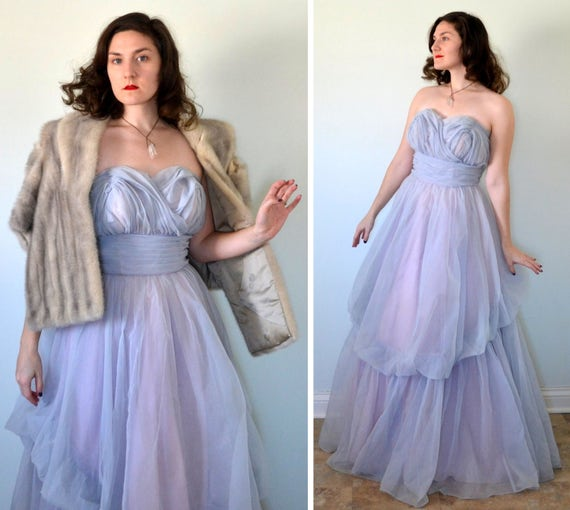Angelic Amethyst Dress | vintage 50's lavender chiffon strapless evening gown | medium large
