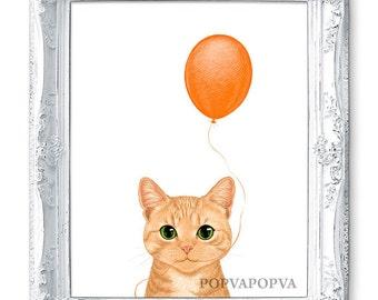 Tabby CAT ART Print, Kitten Cat Nursery Print, Cat PRINT, Balloon Print, Cat Decor, Cat Wall Art, Cat Wall Decor, Cat Poster Nursery Artwork
