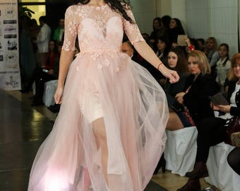 Pink wedding dress, Color wedding dress, Pink dress, Chiffon wedding gown in french lace Bridal gown sleeves Pink tulle custom wedding dress
