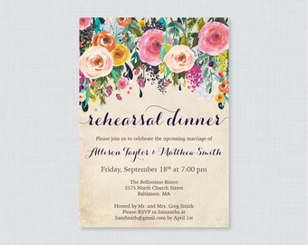 Printable OR Printed Rehearsal Dinner Invitations - Floral Rehearsal Dinner Invites, Colorful Flower Wedding Rehearsal Invitations 0003-A
