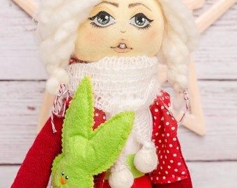 Christmas doll Xmas decorations. Collectible elf doll. Interior doll. Art doll. Doll. Rag doll. Textile doll. Elf doll. Christmas decoration