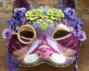 Pretty cat masquerade mask - hand-painted and decorated with jewels, silks, Harris tweeds, braids and silk and paper flowers..