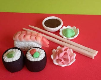 Edible, handmade sushi cake topper set