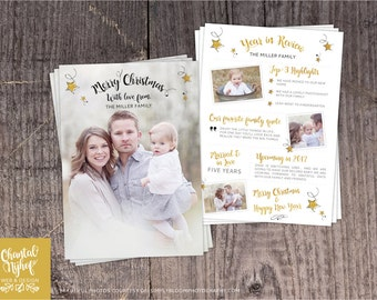 Year In Review Christmas Card Template - Photoshop template 5x7 card - CNCC1604