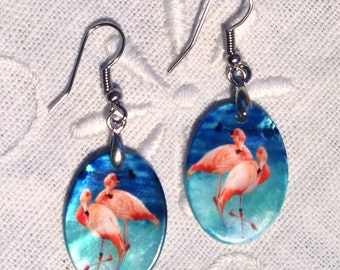 Earrings - 2 Flamingos on Mother of Pearl Earrings  - Unique jewelry - abstract jewelry