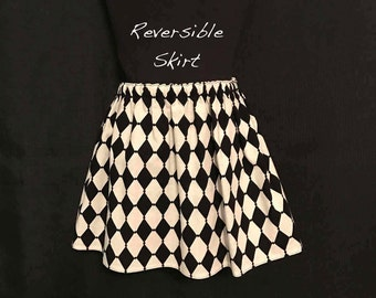 REDUCED! Toddlers Black & White Reversible Skirt; Black and White Diamond Skirt; Black and White Polka Dot Reversible Skirt; Toddlers Skirt