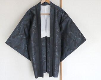 Vintage Japanese Silk kimono Jacket /// Tsumugi, Haori, Silk Jacket, Vintage Haori, Black Kimono Jacket, handwoven silk kimono, crane, blue