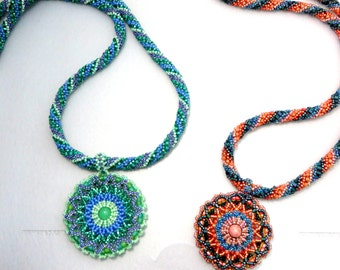 Hand Beaded Rope Necklace with Beaded Mandala Pendant