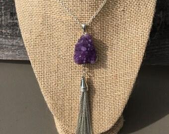 Purple Druzy Necklace with Chain Tassle