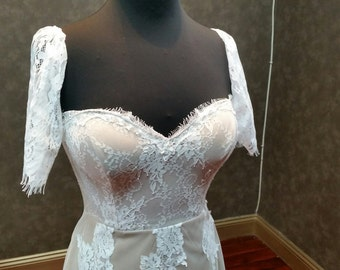 Lace Cap Sleeves for Wedding Dress Chantilly French Lace Detachable Short Sleeves for Bridal Gown