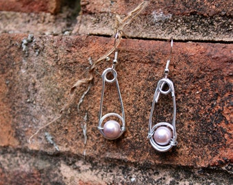 Handmade Wire Dangle Earrings with Pink Beads