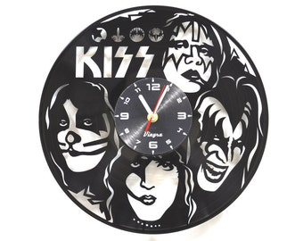KISS Vinyl Clock Kiss Band Wall Decor Rock Band Art Music Lover Gift for Him Kiss Decor for Living Room Wall Art Record Clock