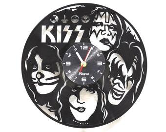 KISS Vinyl Clock Kiss Band Wall Decor Rock Band Art Music Lover Gift for Him Kiss Decor for Living Room Wall Art Record Clock