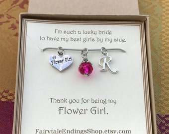 Thank you for being my Flower Girl Necklace - C214 - Flower Girl Thank You Gift - Flower Girl Jewelry - Personalized Flower Girl Necklace