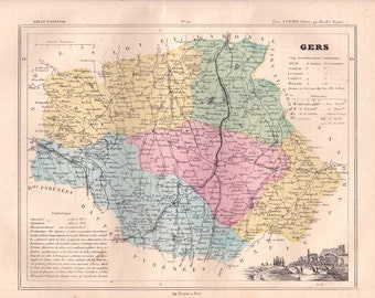 Map detailed and illustrated in the Department of the GERS. 1880 colors. Beautiful details. France.