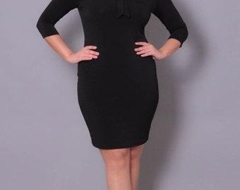 Plus Size Tie Neck Dress - Black - Sizes 0X - 4X