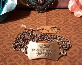 """RELIGIOUS BEAUTIFUL BRACELET - - """"For God So Loved The World"""" - John 3:15"""