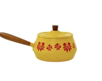 Mid Century Modern Enamel Fondue Pot, Mustard Fondue Pot, Enamelware, Retro, Enamel Pot, Vintage Kitchen, Retro Kitchen, Mid Century Kitchen