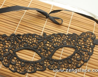 Masquerade Mask Lace, Costume Party Mask, Black Guipure Lace Mask, Gothic mask/Gift For Her/Halloween Costume Mask/Halloween Mask, LM-26-BL