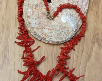 Vintage Natural Undyed Red Coral Branch Necklace
