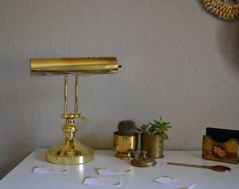 Vintage Brass Desk Lamp mid century style/home/lighting/office/decor