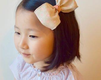 Emma Polka Dotted Linen Bow Hair Clip