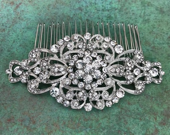 Rhinestone Hair Comb, Wedding, Bride, Bridal, Bridesmaid, Prom, Special Occasion, Updo, Silver Toned, Clear Rhinestones