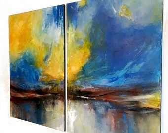 large original painting on stretched canvas 2x100x70 cm, ready to hang