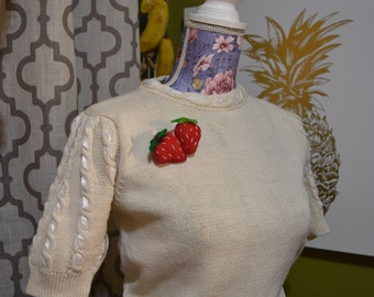 Creme de la Creme Sweater Girl Vintage Ribbon Knit Top