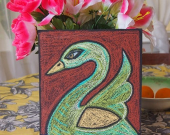 Swan Song Oil Pastel Original drawing