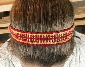 Peach and Red Handwoven Headband