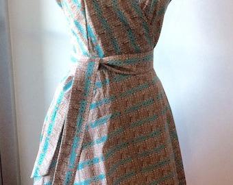 Turquoise/Orange Knit Print Wrap Dress-Medium