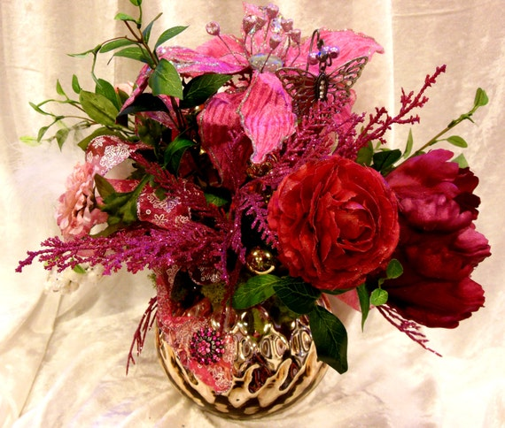 """Pink Silk Floral Arrangement """"The Glamour Girl"""" in a gold Mercury Glass round Blings in the Holidays in Pink by Fabulosity Floral by Sheila"""