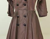 1950/60's Purple Taffeta Dress / Velvet Collar / Cocktail Dress / Party Dress / Mad Men / Rare Collectable Retro