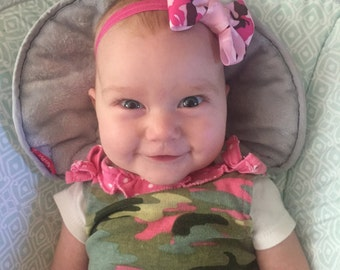 Pink Camouflage Baby Headband or Hair Clip